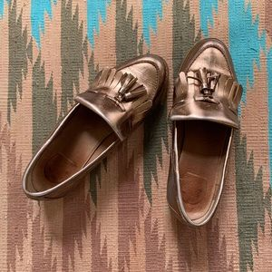 Copper genuine leather penny loafer made in Spain